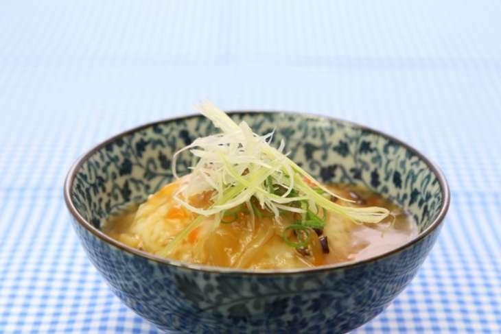 にじいろジーン あさり出汁のあんかけ豆腐ステーキ