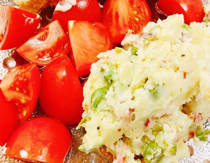 男子ごはんトマトの野菜タルタルソース