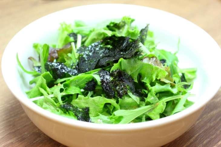 あさいち大根と水菜の焼きのりサラダ