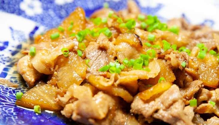 ノンストップ豚肉とカブのフキノトウ炒め
