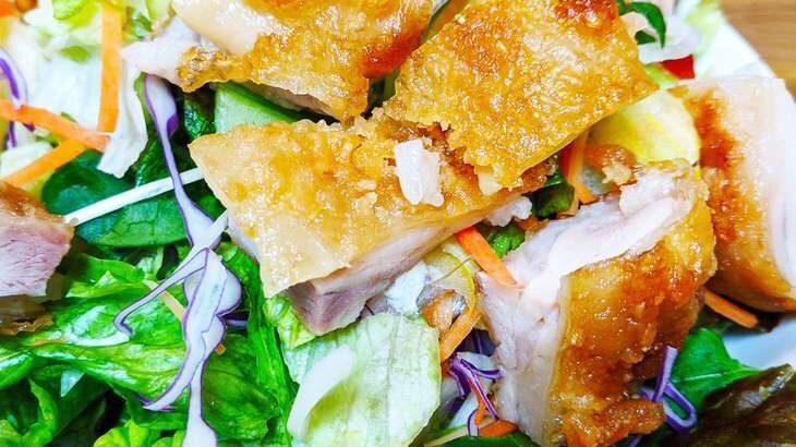 【土曜はナニする】グリルチキンのスパイシーサラダ(ピリ辛美髪サラダ)のレシピ。Atsushiさんのベジたんサラダ(5月22日)