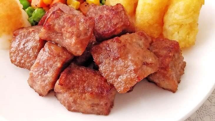 【ヒルナンデス】合いびき肉のサイコロステーキのレシピ。リュウジさんのフライパン激安レシピ(5月24日)
