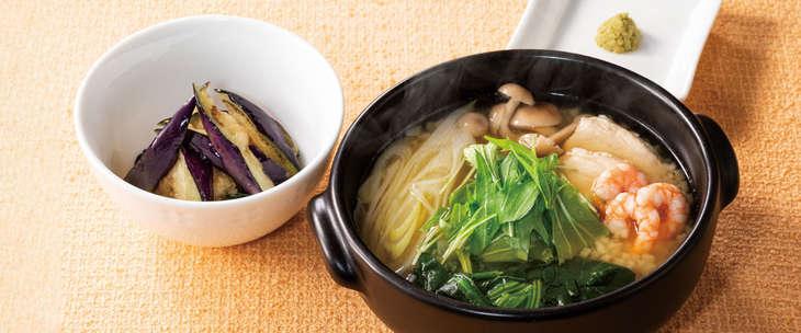 海老とハーブ鶏の和風雑炊 658円(税込)